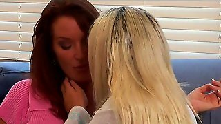 Hot Blonde Aubrey Addams And Dark Haired And Busty Rachel Steele Are Making Out And Having A Steaming Lesbian Sex Session In The Living Room In The Afternoon And Having Fun