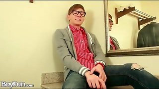 Nerdy Twink In Cute Outfit Strips Solo