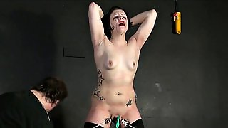 Man With A Whip Beaten Body Bitch In Black Stockings