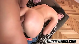 Flexible Chick In Jeans Boned In The Ass