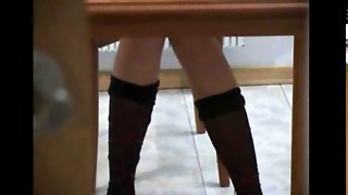 Secret Coed Masturbating Under The Table