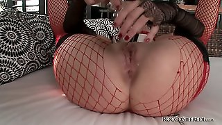 This Wild Babe Is On The Loose, Armed With Several Dildos, And Ready To Use Them All! Watch Her Try Out A Beaded Toy And Finally Fit Two Dildos Up Her Asshole While Fingering Herself!