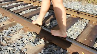 My Wife Barefoot Railway Walking 2