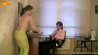 Pantyhose Fuck In The Office With A Cumshot