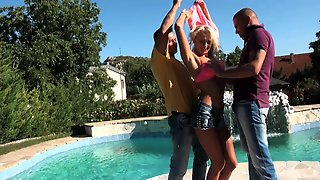Horny Ivana Sugar Enjoys Fucking With Two Guys By The Pool