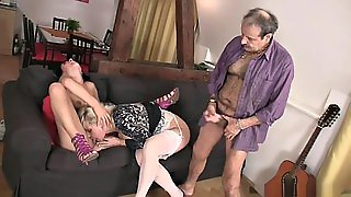 Czech Brunette Fucks With Old Couple