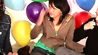Amateur Lesbians Stripping In Party Sex Game