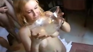 Spanish Girl Enjoying A Bukkake (Part 2)