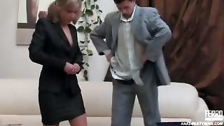 Nasty Sec In Lacy Tights Seducing A Guy Into Butt Play Before The Interview