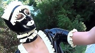Rubber Tanja Cleanning Garden And Masturbed In Latex Maid