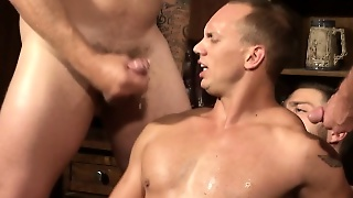 Muscled Hunk Jizzed On While Riding Thick Cock