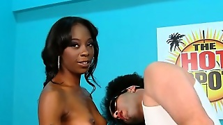 Skinny Black Bitch In Stockings Takes A Big Hunk Of White Meat