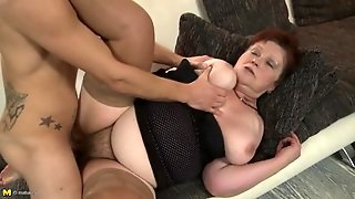 Hairy Granny Slut Fucked By A Young Dick