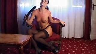 Adorable Tina Prepares Her Pussy With A Giant Dildo Before Doing A Mmf