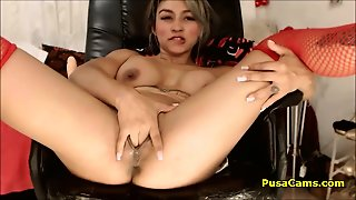 First Cums Sticky White Cream Then Squirting Huge And Massiv