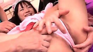 Asian Foursome With Teen Maiden Getting Cunt Vibed