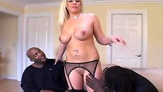 Threesome, 3Some, Lingerie, Cuckold, Blowjob, Group, Blonde, Wife, Bigcock, Stockings