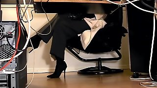 Under The Desk, Office Voyeur, Boots Office, Legs In Boots, Amateur Lingerie Masturbation, Masturbation At The Office, Pantyhose Gloves, Solo Masturbation In Pantyhose, Secretary Fetish, Hd Voyeur.com