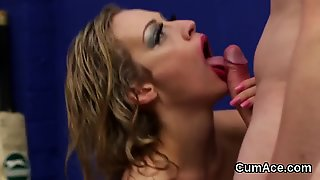 Spicy Doll Gets Cum Shot On Her Face Swallowing All The Semen