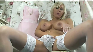 White Lingerie And Hairy Pussy