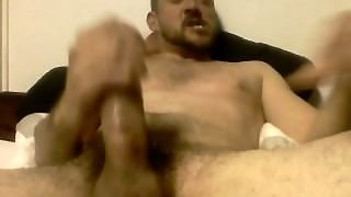Amateur Jerks His Fat Cock And Shoots Cum On His Own Face From The Cumshot.