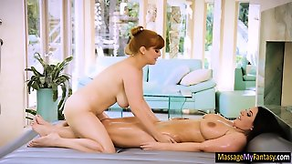 Sexy Masseuse Foreplay With Busty Client On Massage Bed