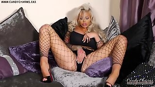 Bimbo Beauty In Her Bed Talking Dirty And Playing With Her Pussy