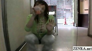 Subtitled Japan Public Nudity With Dildo Sucking Woman