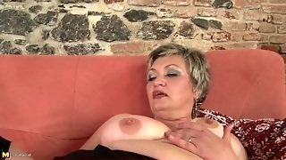Granny In Black Stockings Gets Sexy With A Toy