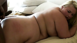 Fatty, Fat, Natural Tits, Couple, Interracial, Bbw, Natural Melons, Blonde Hair, Blonde, Doggystyle, Bedroom