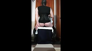 Corset Training Over Buttplug B52 Latex Mask And 7Inch Heels