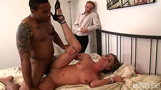 Hot Blonde Fucks A Black Cock While Her Husband Watches