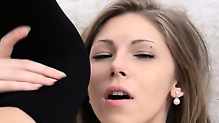 Black Stockings And Shaved Hole