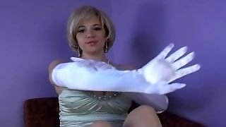 Teasing, Fake Big Tits, Fetish Big Tits, White Satin, Too Big Tits, Long Glove, Blondetits, Big And White