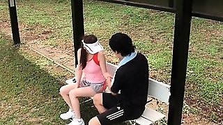 Asian Teeny Massaging Her Coach And Giving Him Boner Outdoor