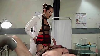 Tranny Domme Makes Him Suck His Own Cock!