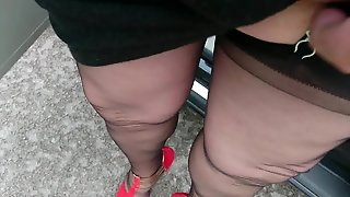 Outside In Nylons And High Heels