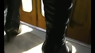 Upskirt Tan Pantyhose On Tram