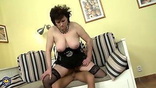 Mommy Mouth Bobs Up And Down On His Cock