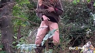 Redhead In The Woods Goes Pee