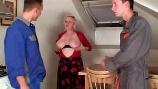 Two Repairmen Share Busty Grandma