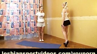 Busty Girl Working Out With Lesbian Instructor