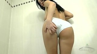 Cute Chick Pissing Through Her White Panties