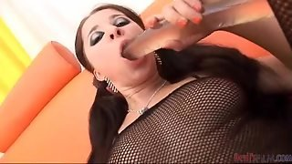 Busty Girl With Pigtails Gets Double Penetrated