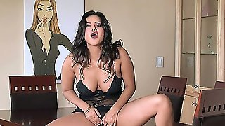 Shes Dark, Shes Busty And Shes Up For Anything Sunny Leone Cant Get A Man But Shes Got A Vibrating Friend That She Can Use On Her Deep, Dark Pussy.