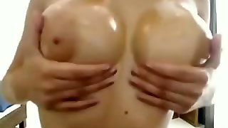 Teen With Fake Tits And A Dildo