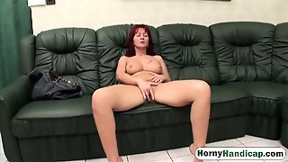 Mature Babe Enjoys Riding Amputee Cock On Couch