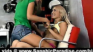 Sexy Blonde Lesbians Kissing And Having Lesbian Love