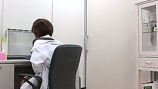 Stunning Jap Office Nymph Rubbing Huge Tits And Pussy At
