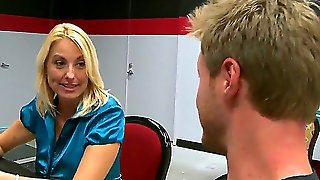 Gorgeous Mature Blonde Teases Horny Guy And Gives Him A Starting Stripdance